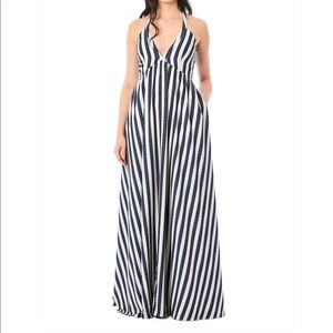 Blue chambray and cream maxi dress custom size 34